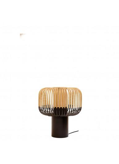 BAMBOO LIGHT L duza lampka na stolik nocna azurowa z bambusowym kloszem