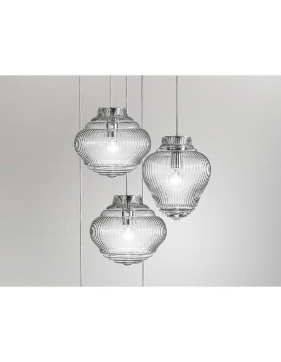 CLYDE lampa wisząca szklana transparentna kabel 3m