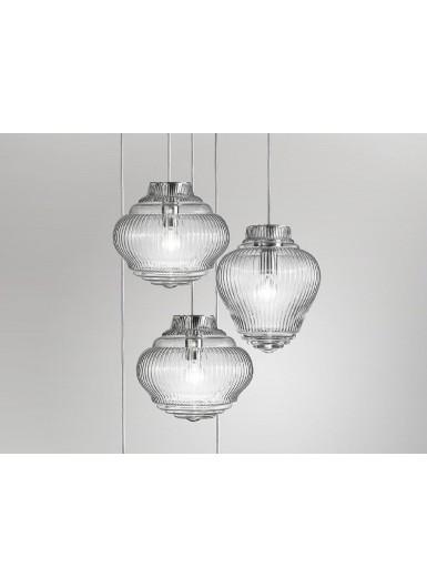 CLYDE lampa wisząca szklana szara kabel 3m