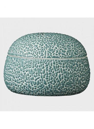 GEMMA błękitny ozdobny pojemnik ceramiczny z pokrywką H8cm