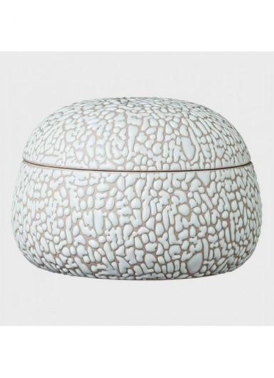 GEMMA jasny szary ozdobny pojemnik ceramiczny z pokrywką H8cm