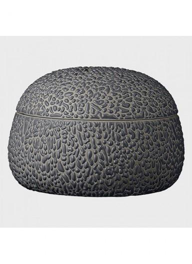 GEMMA ciemny szary ozdobny pojemnik ceramiczny z pokrywką H8cm