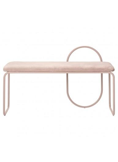 ANGUI ławka z aksamitnym siedziskiem różowa na różowych nogach