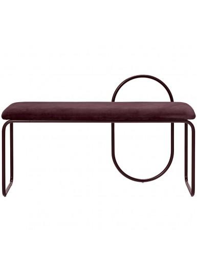 ANGUI ławka z aksamitnym siedziskiem bordowa na bordowych nogach