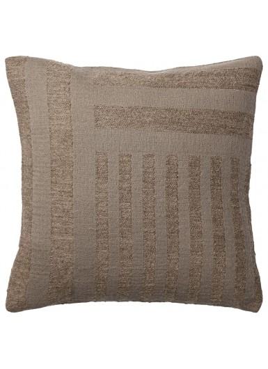 CONTRA poduszka aksamitna brązowa, wzór geometryczny
