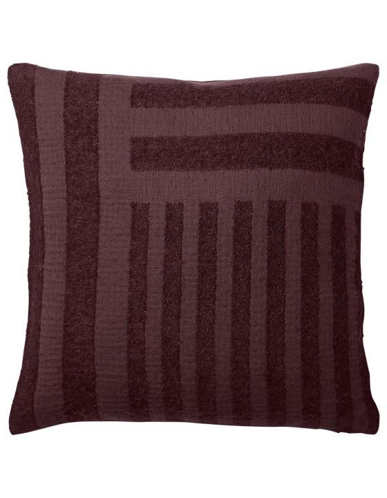 CONTRA poduszka aksamitna bordowa, wzór geometryczny