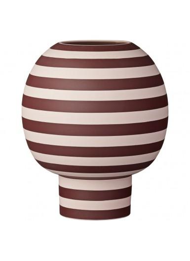 VARIA ceramiczny wazon w paski, nowoczesny skandynawski design, bordowy