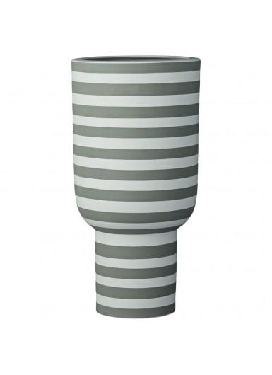 VARIA ceramiczny wazon w paski, nowoczesny skandynawski design, zielony