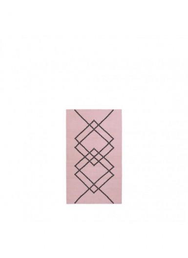 Dywan 100% wełna w graficzny wzór różowy/czarny 80x140cm