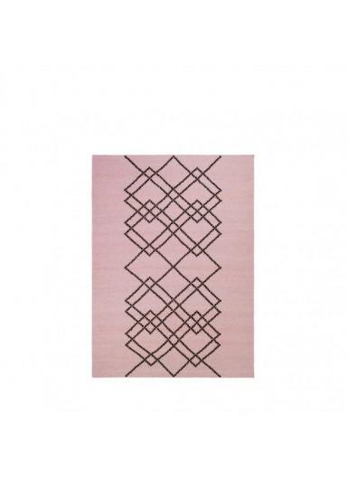 Dywan 100% wełna w graficzny wzór różowy/czarny 140x200cm