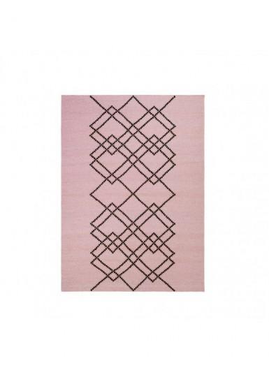 Dywan 100% wełna w graficzny wzór różowy/czarny 170x240cm