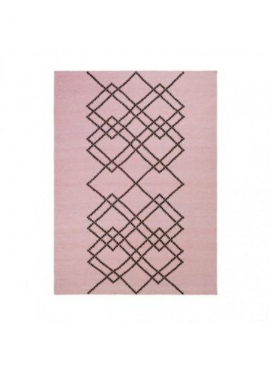 Dywan 100% wełna w graficzny wzór różowy/czarny 200x300cm