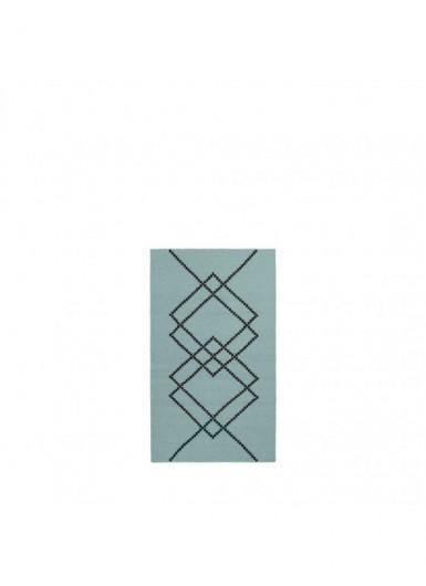 Dywan 100% wełna w graficzny wzór zielony/czarny 80x140cm
