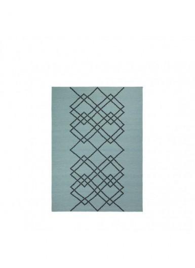 Dywan 100% wełna w graficzny wzór zielony/czarny 140x200cm
