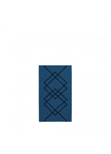 Dywan 100% wełna w graficzny wzór błękitny/czarny 80x140cm