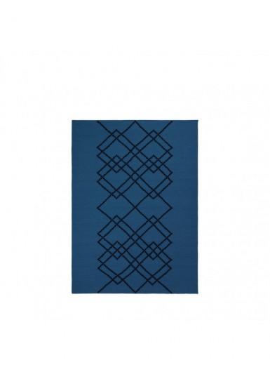 Dywan 100% wełna w graficzny wzór błękitny/czarny 140x200cm