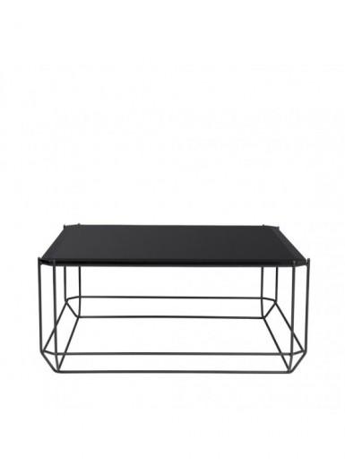 Jewel stolik kawowy blat z czarnego szkła 80x80cm
