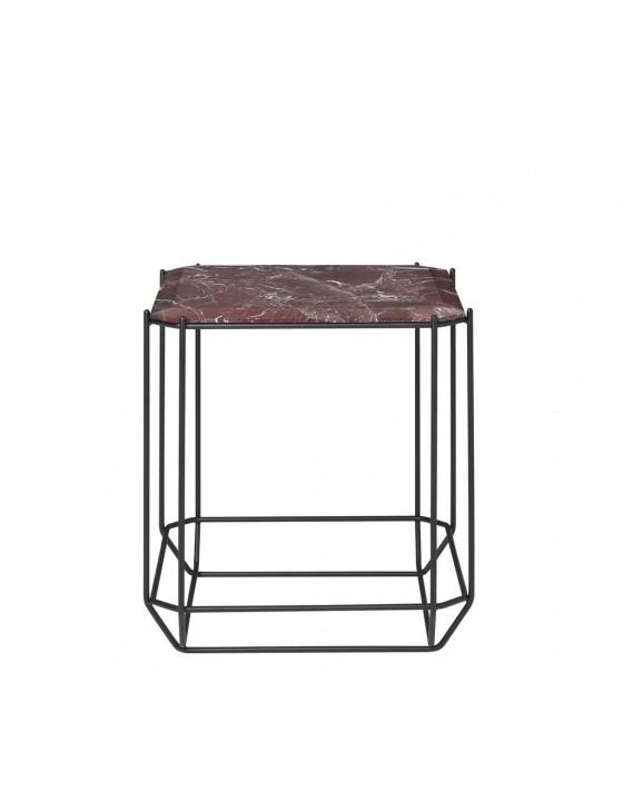 Jewel stolik kawowy bordowy marmur 40x40cm
