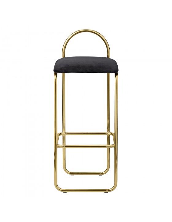 ANGUI stołek barowy tapicerowany welurem czarny ze złotą baząniski