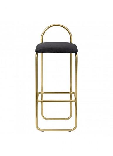 ANGUI stołek barowy tapicerowany welurem czarny ze złotą bazą wysoki