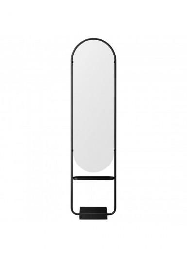 ANGUI stojące lustro wysokie, podłogowe z marmurową podstawą, czarne