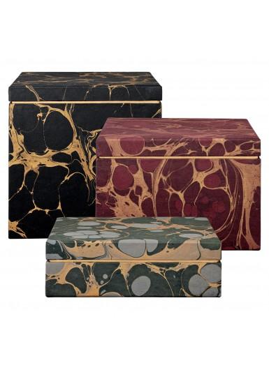 NUBILA zestaw kartonowych pudełek do przechowywania z czerpanego papieru w marmurowy deseń