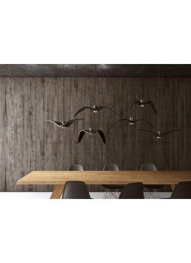 NIGHT BIRDS wisząca ceramiczna ciemno-szara